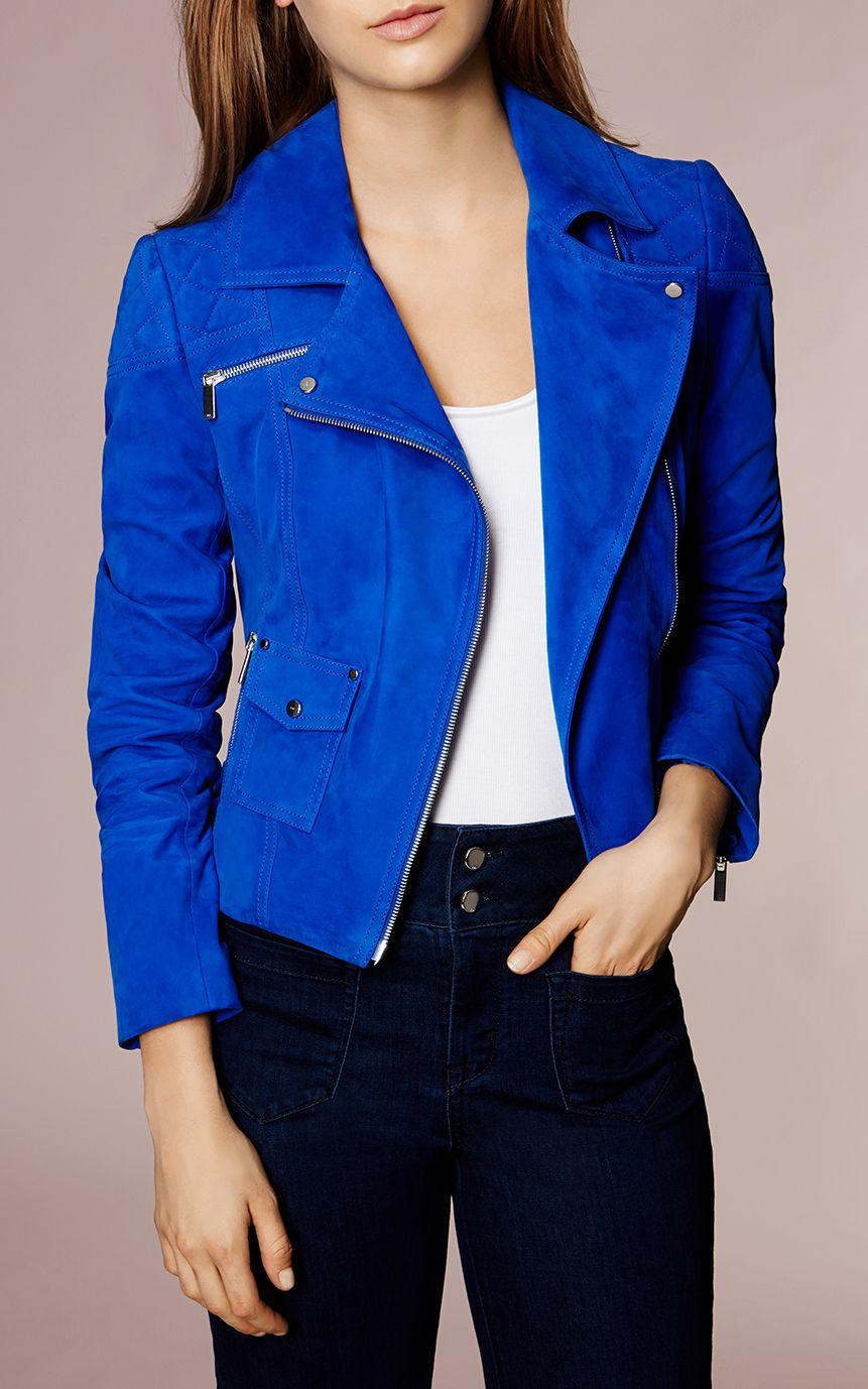 Karen Millen, COBALTBLUE SUEDE BIKER JACKET Blue My