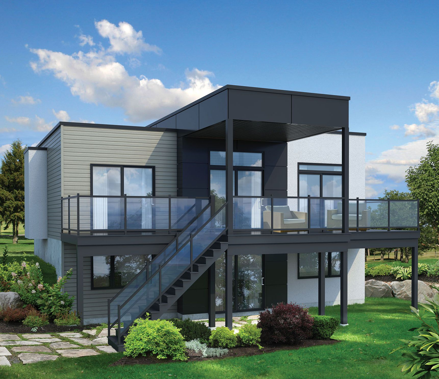 Plan 80780pm 2 bed modern house plan for sloping lot in - Modern architectural designs floor plans ...