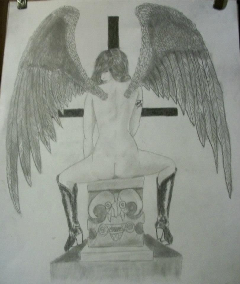 Dark Angel pencil on cardstock by Ebell 18.00