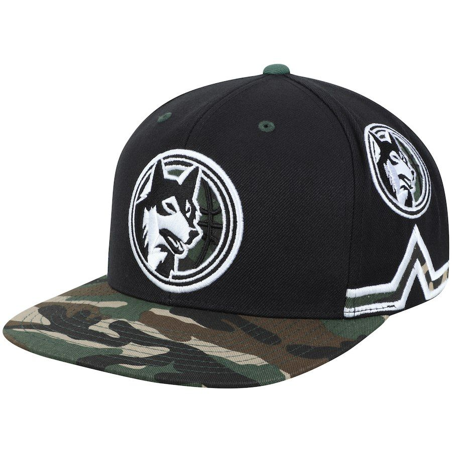 324e023036d442 Men s Minnesota Timberwolves Mitchell   Ness Black Straight Camo Snapback  Hat