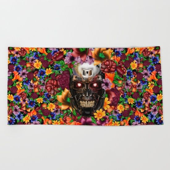 Sugar Chrome skull terminator face BEACH TOWEL #beachtowel #beach #painting #digital #ink #watercolor #popart #comic #pattern #dayofthedead #sugarskull #diadelosmuertos #flower #rose #daisy #terminator #robot #cyborg #sciencefiction