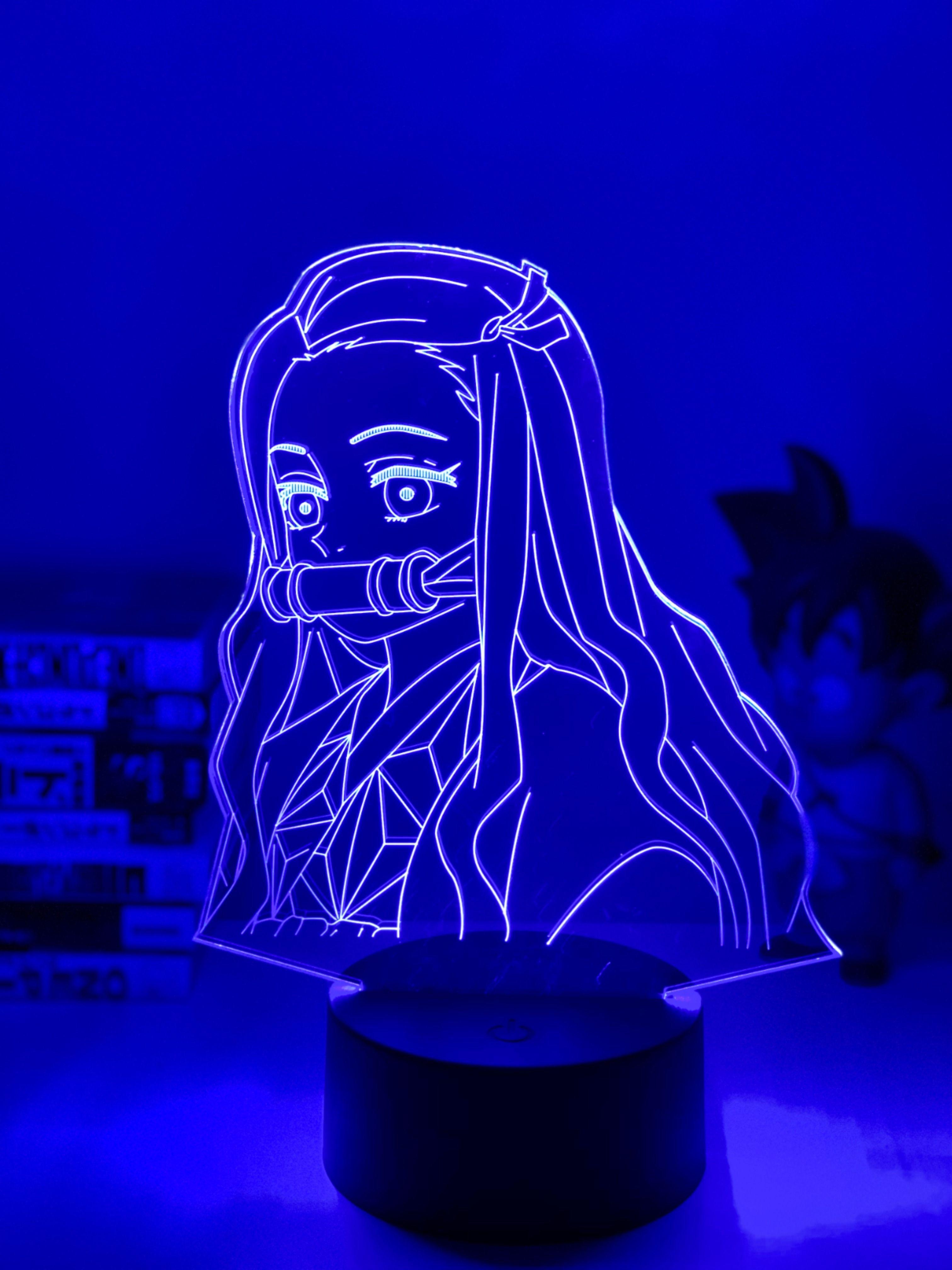 Nezuko Led Lamp In 2020 Night Light Kids Anime Baby Blue Aesthetic