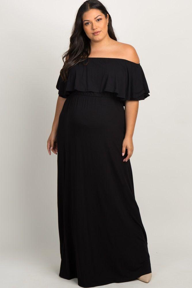 0f3d5b8585110 Black Off the Shoulder Flounce Maternity Plus Maxi Dress in 2019 ...