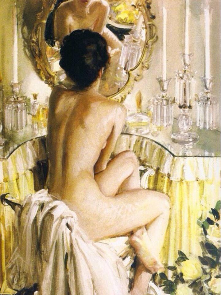 John Gannam - Nude at Mirror