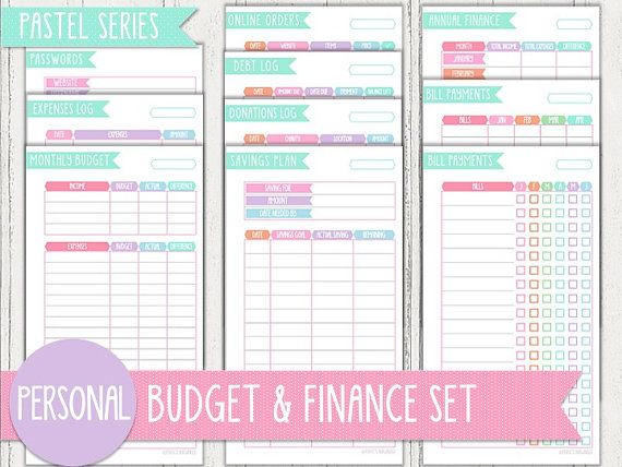 For finance section Use monthly budget, expenses log, and write-in - budget log