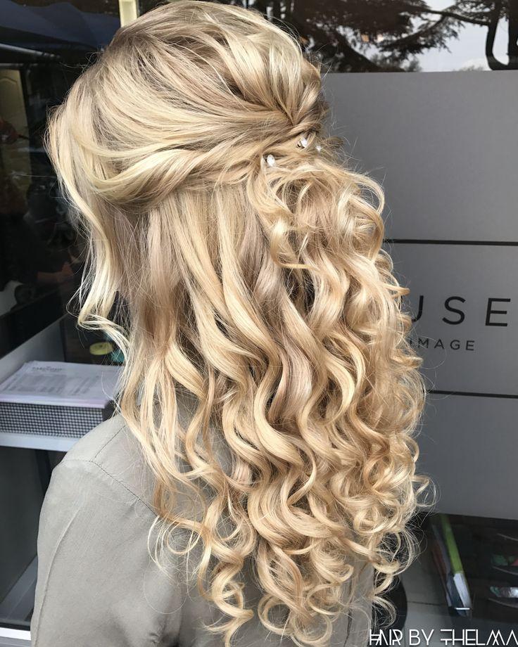 Halb oben, unten, Prom-Frisuren, Matric Dance, Diamanté-Dekor, lange blonde … #promhairstyles