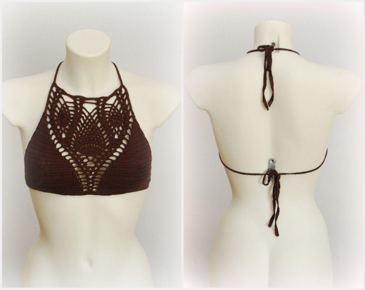 brown chocolate crochet crop top | FAVORITAS | Pinterest | El verano ...