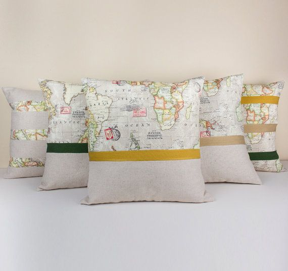Set of 5 world map linen pillow covers designed with twill ribbons set of 5 world map linen pillow covers designed with twill ribbons fabric world map gumiabroncs Image collections