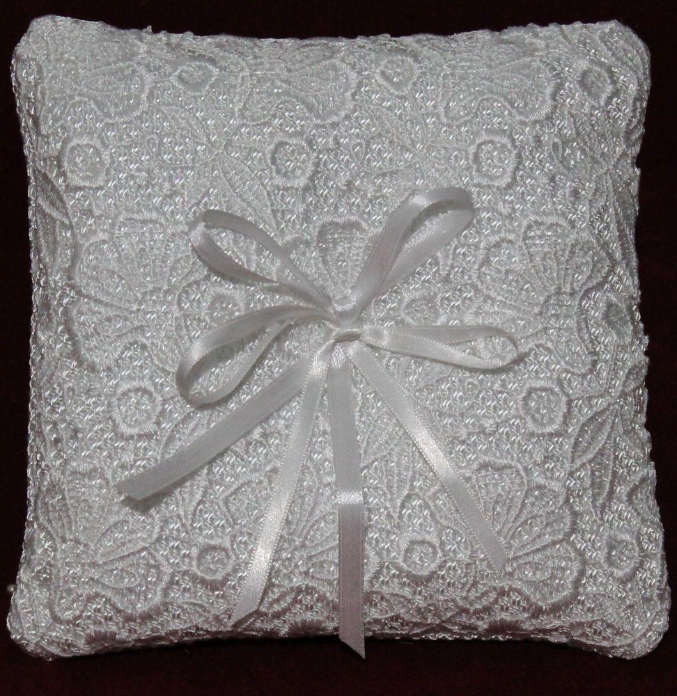 Cuscino Portafedi Bianco E Blu.Cuscino Portafedi Con Pizzo Macrame Per Cerimonia Bianco
