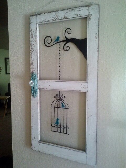 Old Window Painted And A Door Knob Added From Hobby Lobby