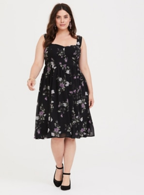 8340b36185 Special Occasion Black Floral Sweetheart Midi Dress | Products ...