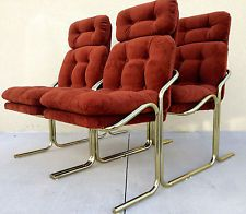"""Rare"" Mid Century Bent tubular Brass Arcadia chairs by Jerry Johnson"