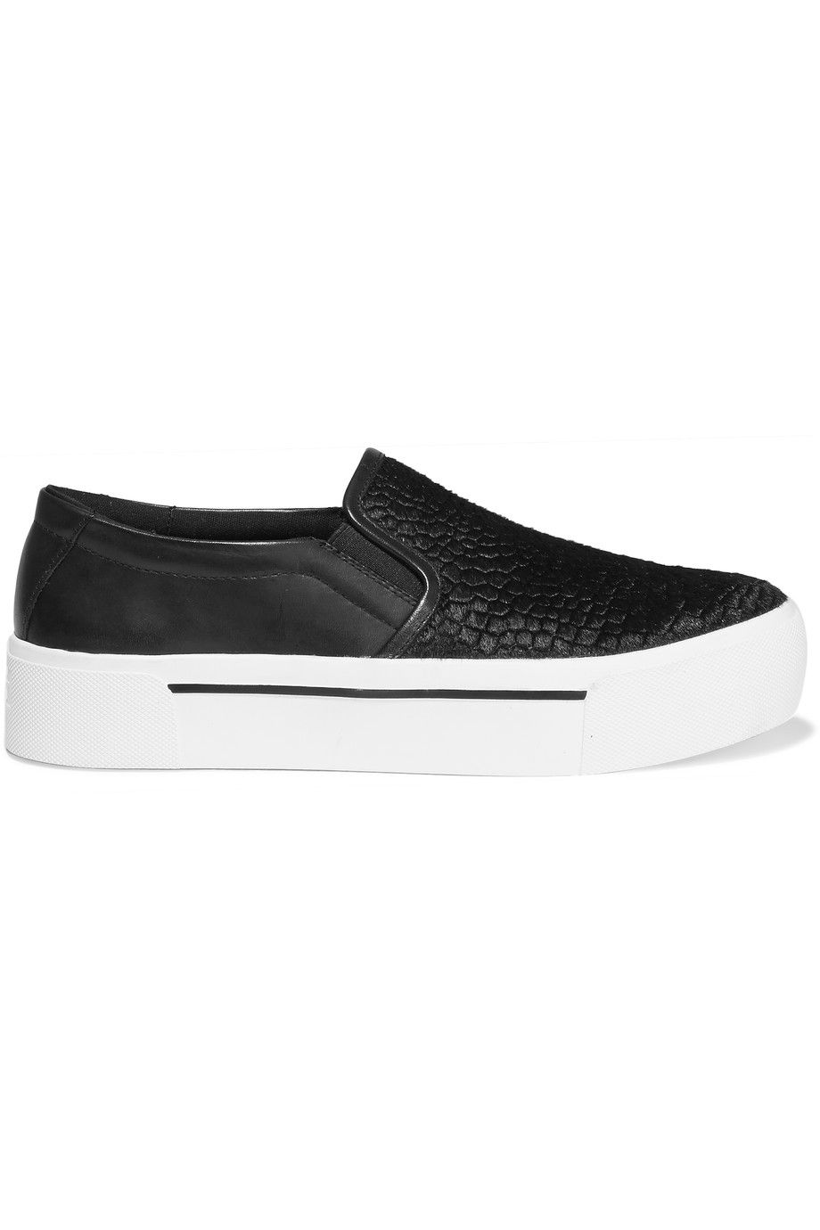 DKNY Bess Embossed Calf Hair And Leather Sneakers. #dkny #shoes #sneakers