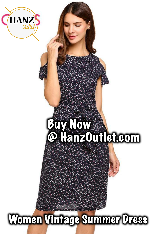467661f0a9 Women Vintage Summer Dress 2018 Top Rufflles Cold Shoulder Short Sleeve  Floral Print Casual Dress with Belt Beach Dress  WomenVintage  SummerDress   Cold ...