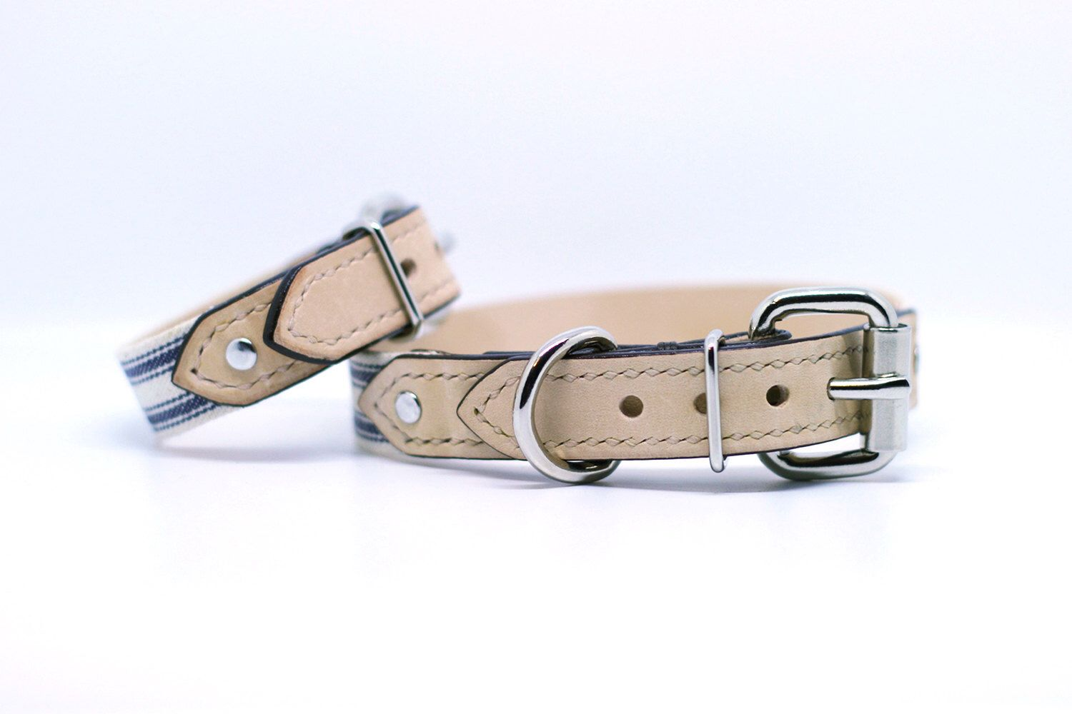 Matching Leather Collar & Bracelet in Natural Veg Tanned Leather and Blue Stripes (Handmade) by BearytailLeatherCo on Etsy https://www.etsy.com/ca/listing/261292395/matching-leather-collar-bracelet-in