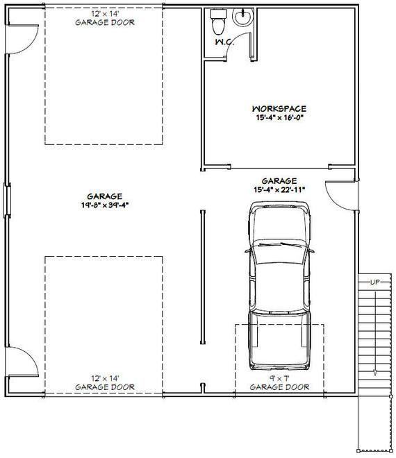 36x40 House 1 Bedroom 1 5 Bath 902 Sq Ft Pdf Floor Etsy In 2020 Garage Plans With Loft Garage Floor Plans Floor Plans