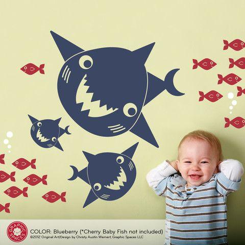Happy Shark Family Wall Decals   Shark family, Happy shark and Shark ...