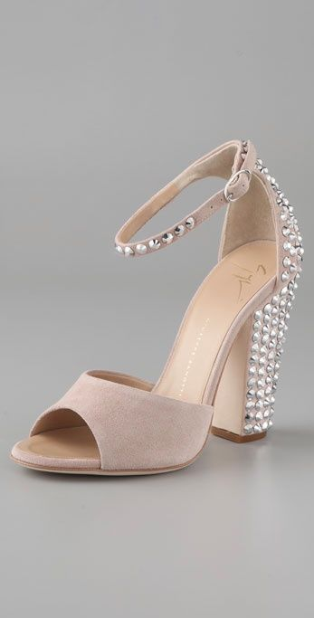 287981acd29ce Giuseppe Zanotti Suede Ankle Strap Sandals with Crystals   Oh shoes ...