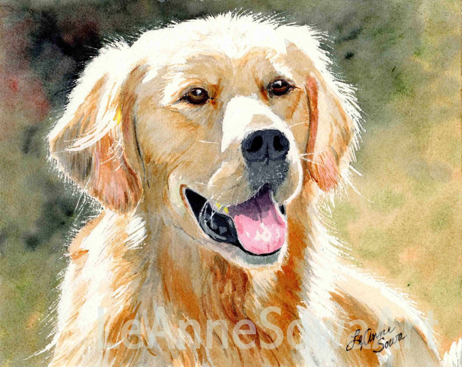 Watercolor Paintings Dogs Golden Retriever Light Print From