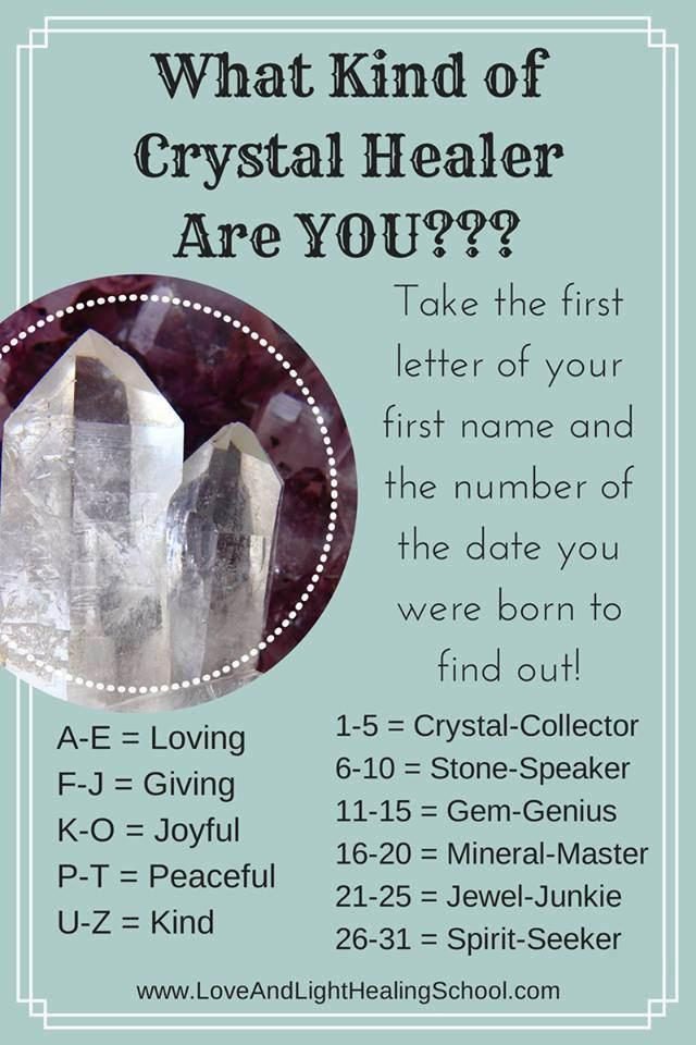 Whats your Crystal Healer name?? Mine is Peaceful Jewel -Junkie, Which  totally connects with me..lol! ;)   Crystal healer, Crystal vibes, Crystal  aesthetic