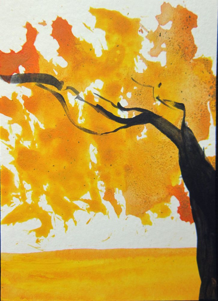 ORIGINAL #ABSTRACT #ACEO TW OCT #FALL #TREE LEAVES OFF THE WALL #ART ...