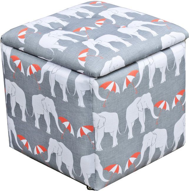 Elephant Print Toy Chest Trunk Storage Box For Living Room Or Nursery