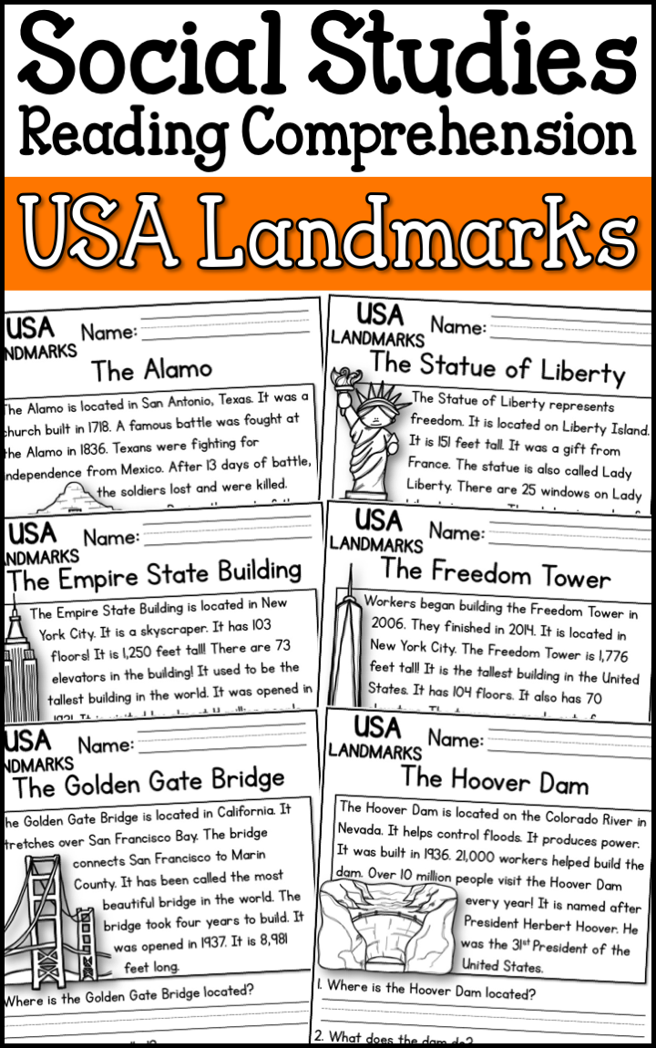 United States Landmarks Reading Comprehension Passages K 2 A Page Out Of History Social Studies Elementary Social Studies Worksheets Social Studies Book [ 1150 x 720 Pixel ]