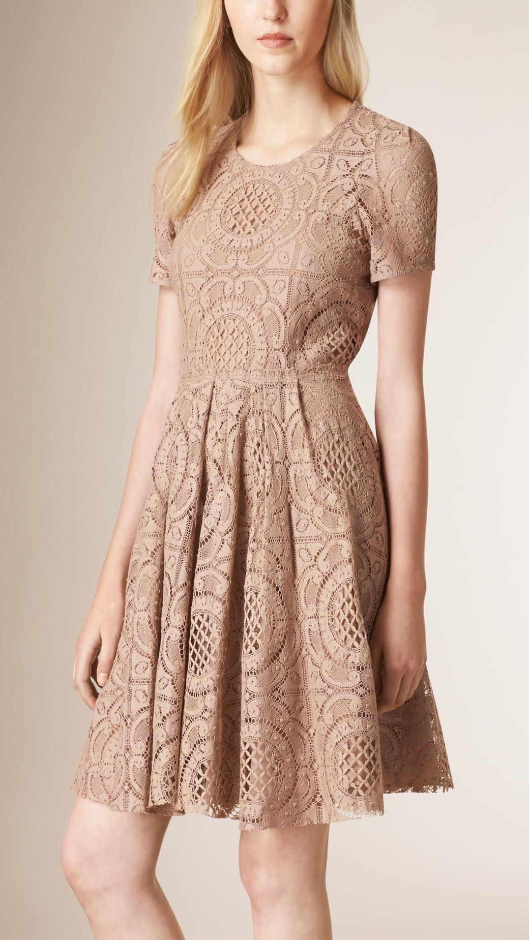 Pink lace dress with jacket  English Lace ALine Dress Nude  Burberry  Dresses and Skirts