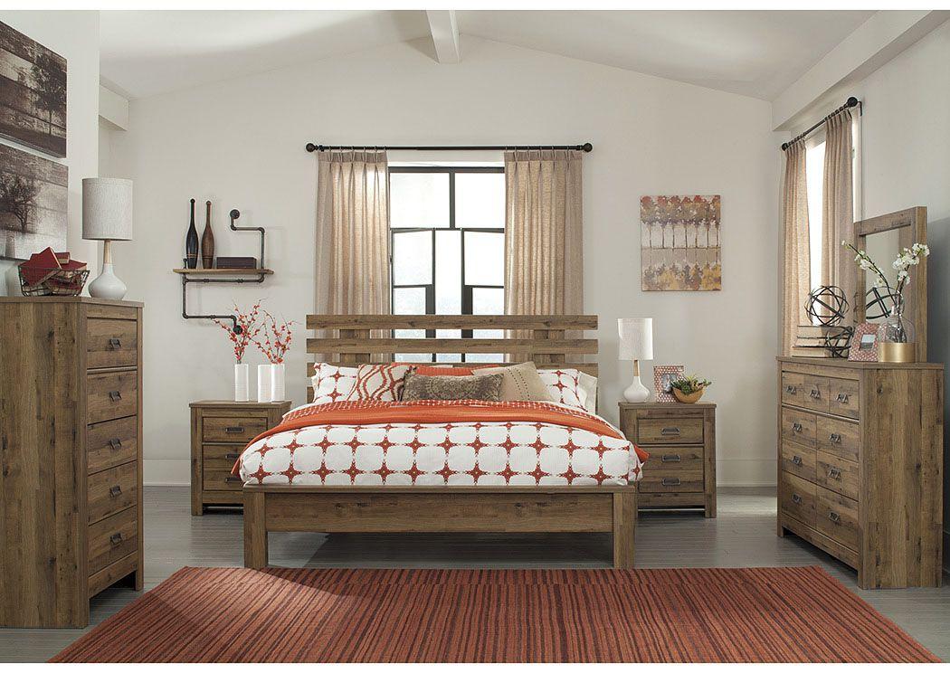 Ramos Furniture Cinrey Medium Brown King Panel Bed W Dresser Mirror