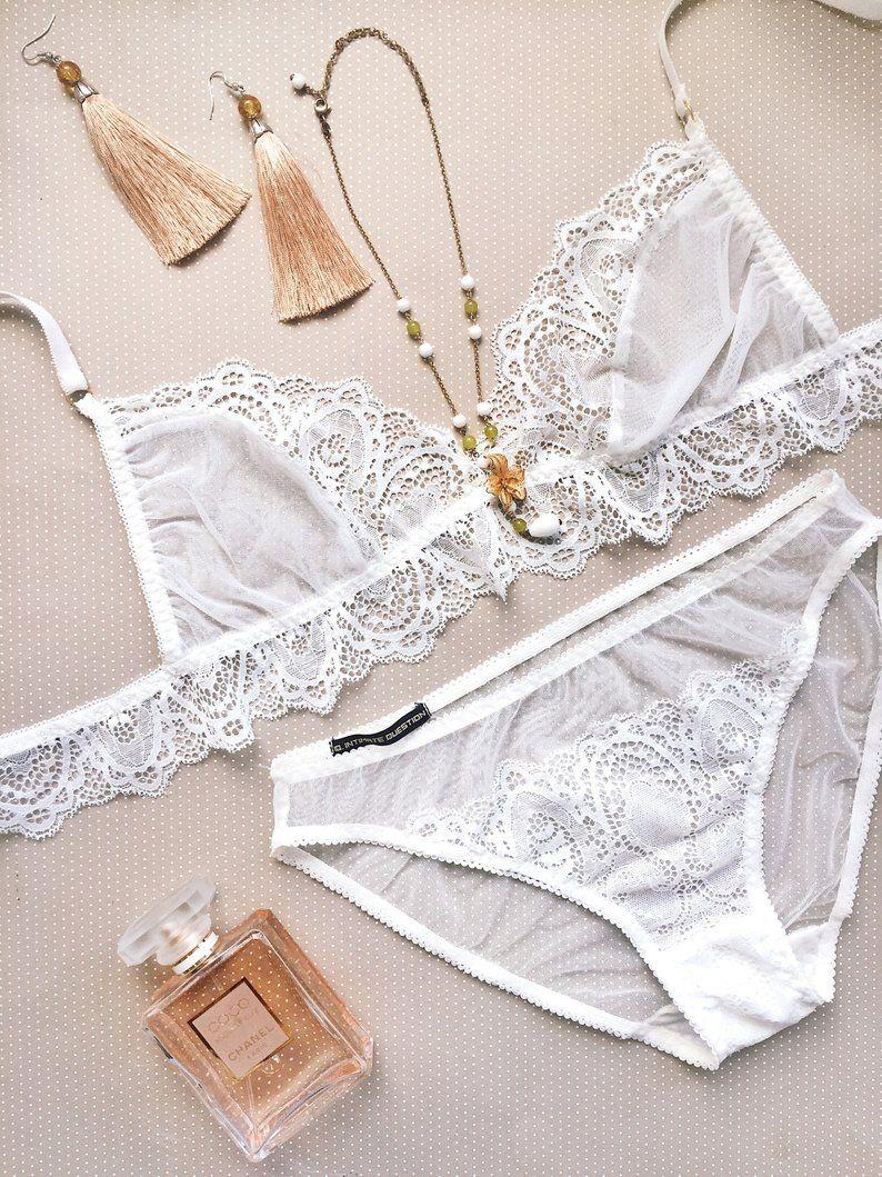 e5ac041e9 White lace set of transparent bra and bikini panties. sexy lingerie set.  Bride.