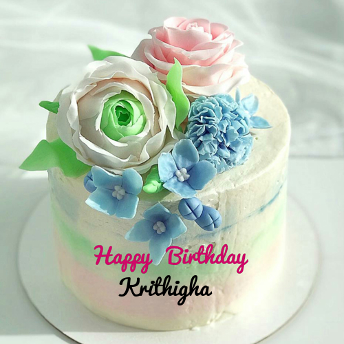 Colorful Flower Birthday Cake With Name On It