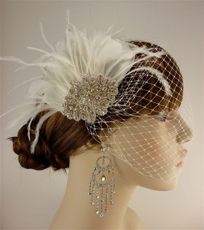Hollywood Glam - Rhinestone Bridal Ivory Feather Fascinator, Rhinestone Hair Clip, Bridal Fascinator, Fascinator, Wedding Veil. $78.00, via Etsy.