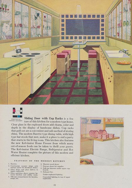 Sliding Door with Cup Racks Page 23 of a 1944 brochure brought to you by the Nash-Kelvinator Corp.
