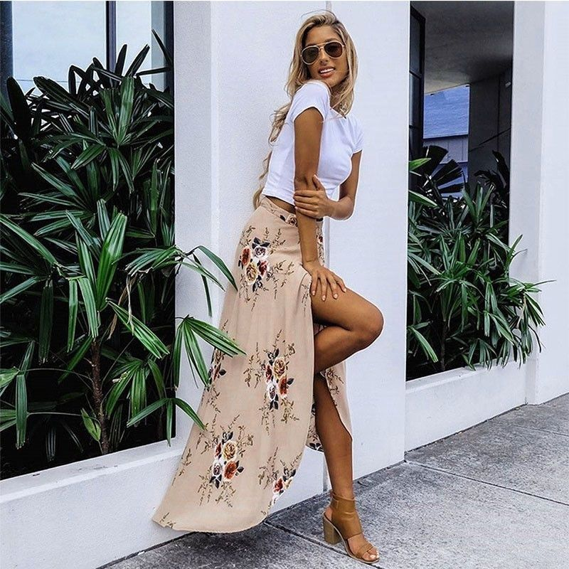 New Summer Women Chiffon Long Maxi Skirt Bohemian Boho Beach Dress High Waist