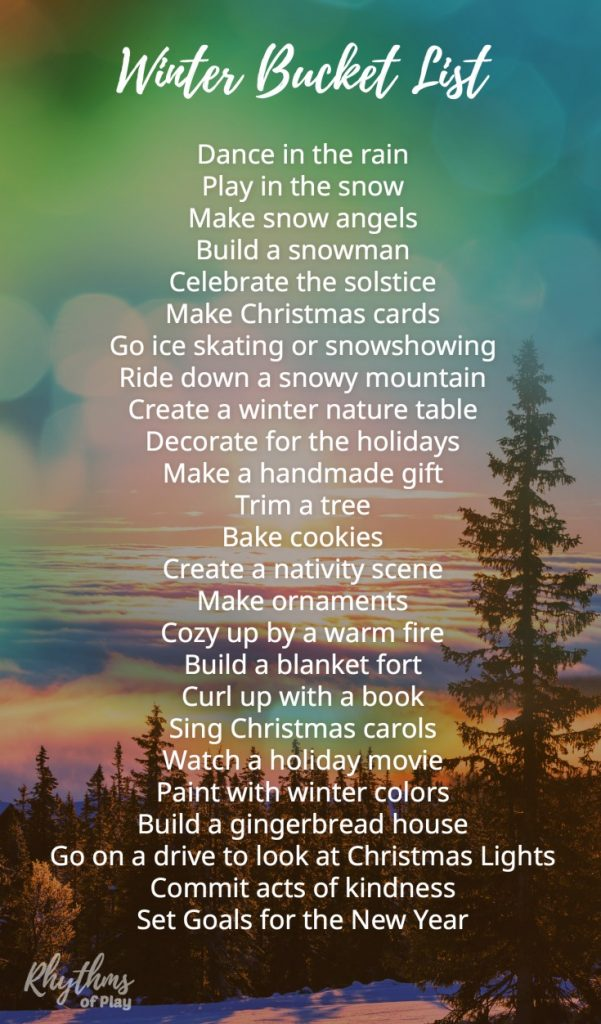 Winter Bucket List Family Guide for Seasonal Activities Arts and Crafts | Rhythms of Play