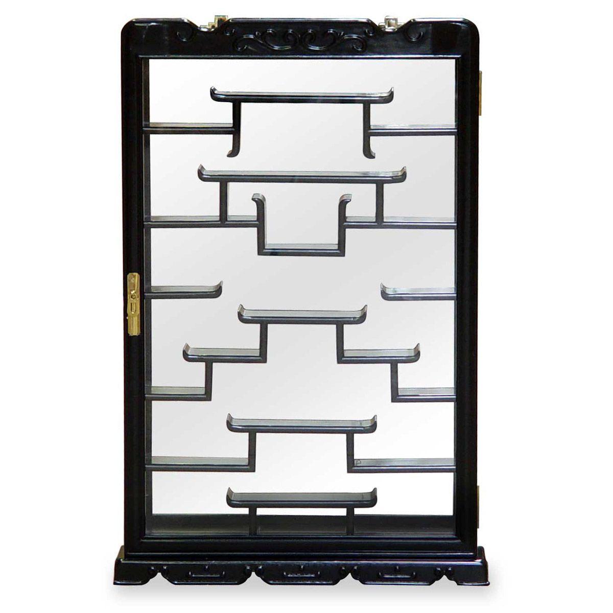 Rosewood Wall Curio Display Cabinet | Asian Decor ...