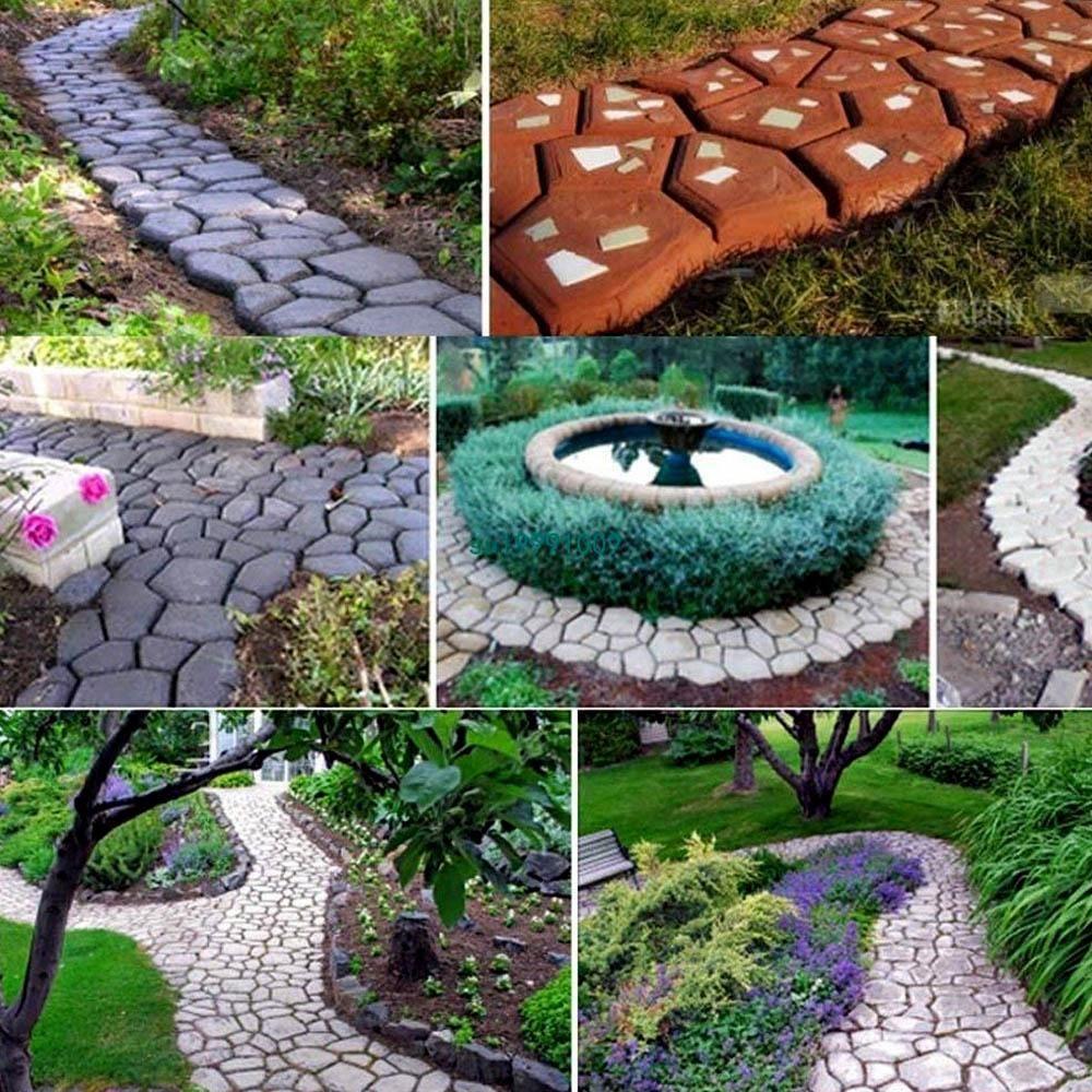 Photo of Plastic DIY Garden Pavement Mold Maker Walk Brick Stone Road Concrete Mold for Walkway Pathway Flooring Paving 13.78
