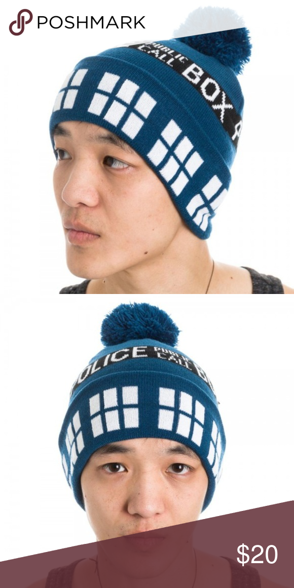 ea2897e547e Doctor Who TARDIS Beanie Hat Police Box This is for 1 Doctor Who themed Beanie  Hat. This is a very nice knit beanie with a cuff and pom poof on top.