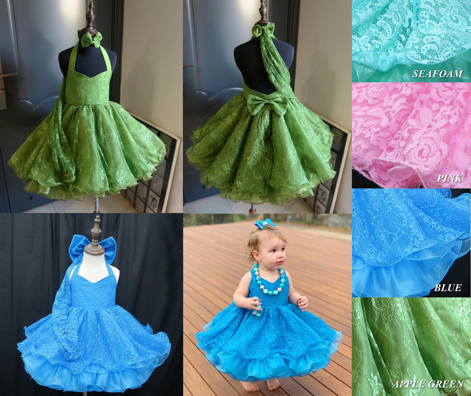 National Pageant Lace Baby Doll Dress Shell Sleeves Style Size 1-2t 4-6t. 3-4t