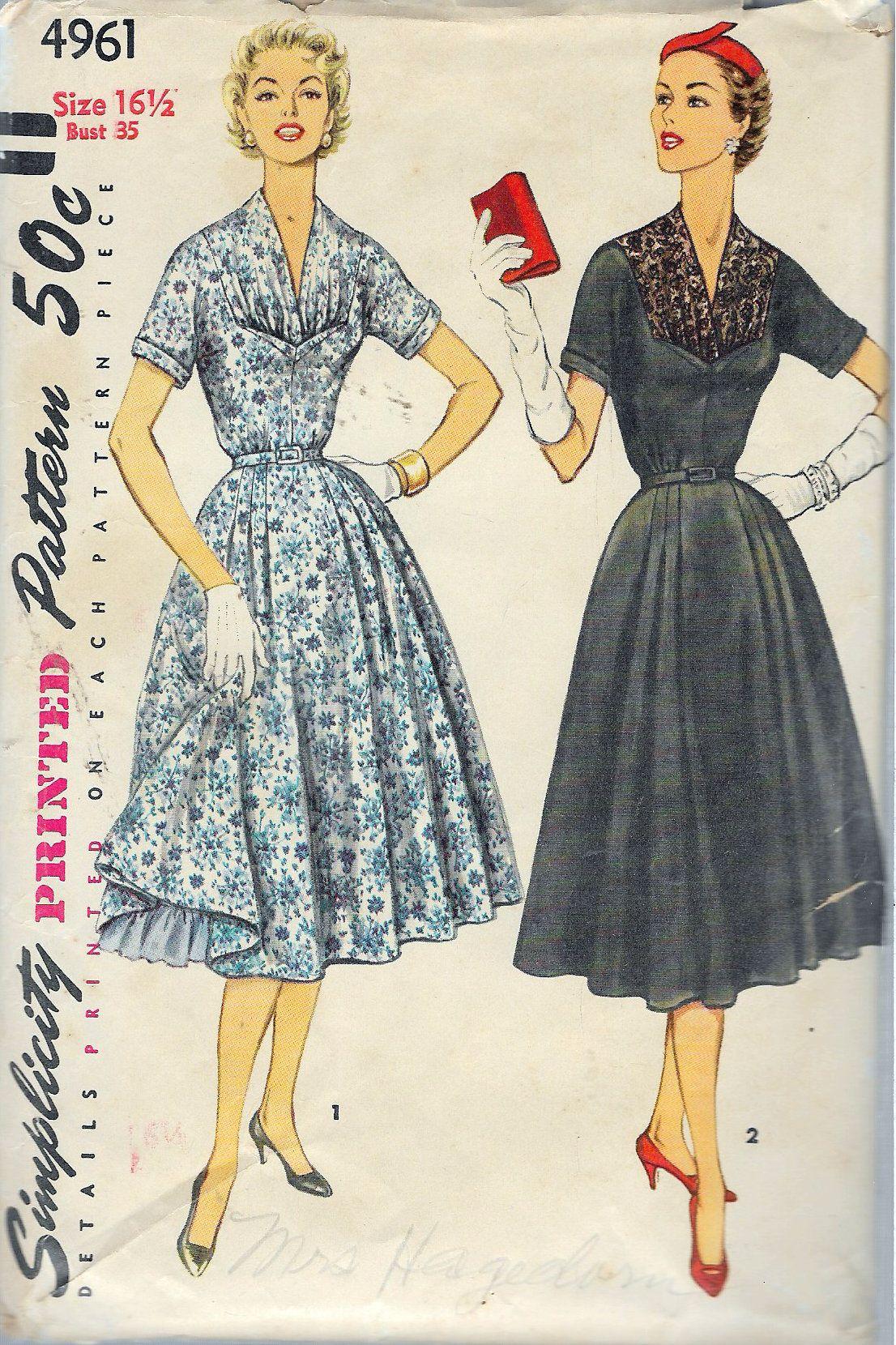 Vintage simplicity onepiece dress u in half sizes sewing