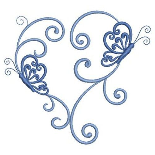 Wind Bell Embroidery Embroidery Design: Heart Butterfly 3.48 inches H x 3.80 inches W
