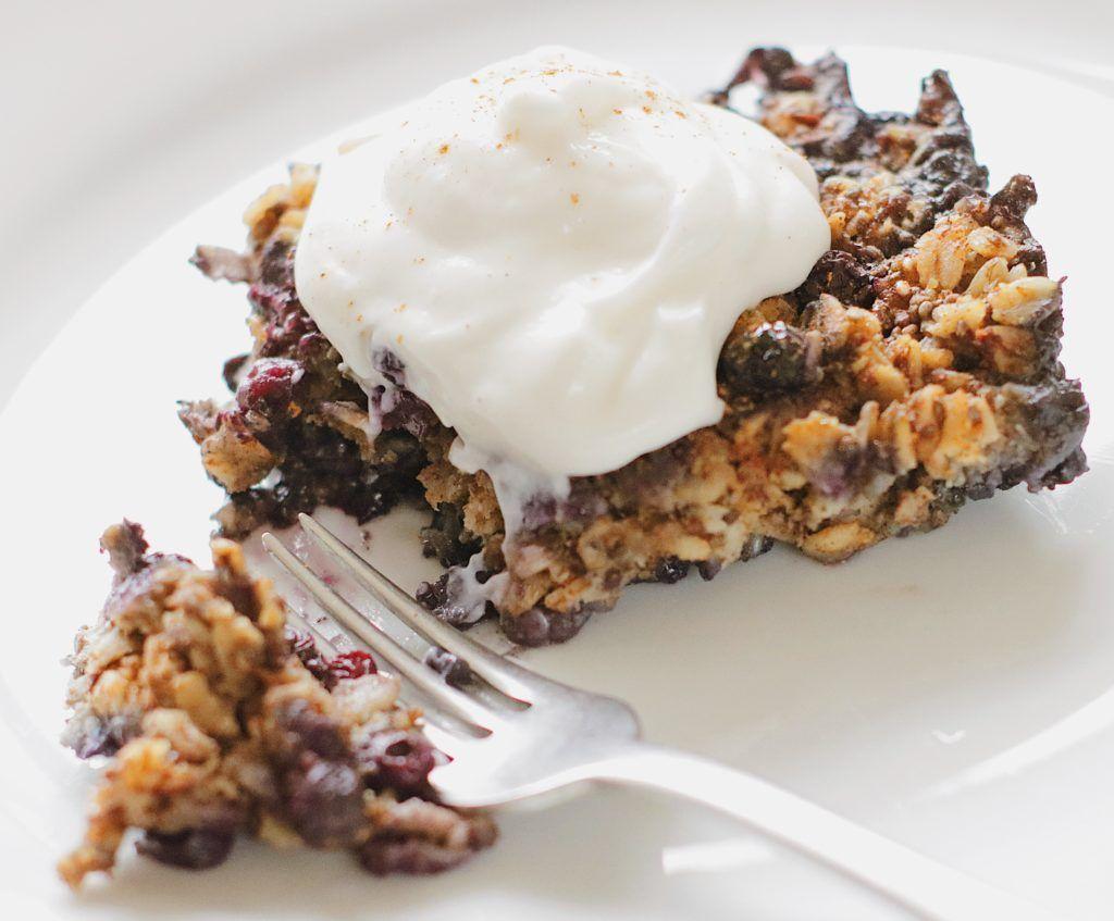 Blueberry chia seed baked oatmeal recipe food vegan