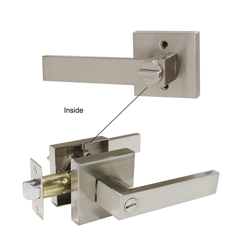Probrico Privacy Door Lever Usually For Bedroom And Bathroom Satin Nickel And Keyless Locks Door Designs St Door Levers Door Handle Sets Door Hardware