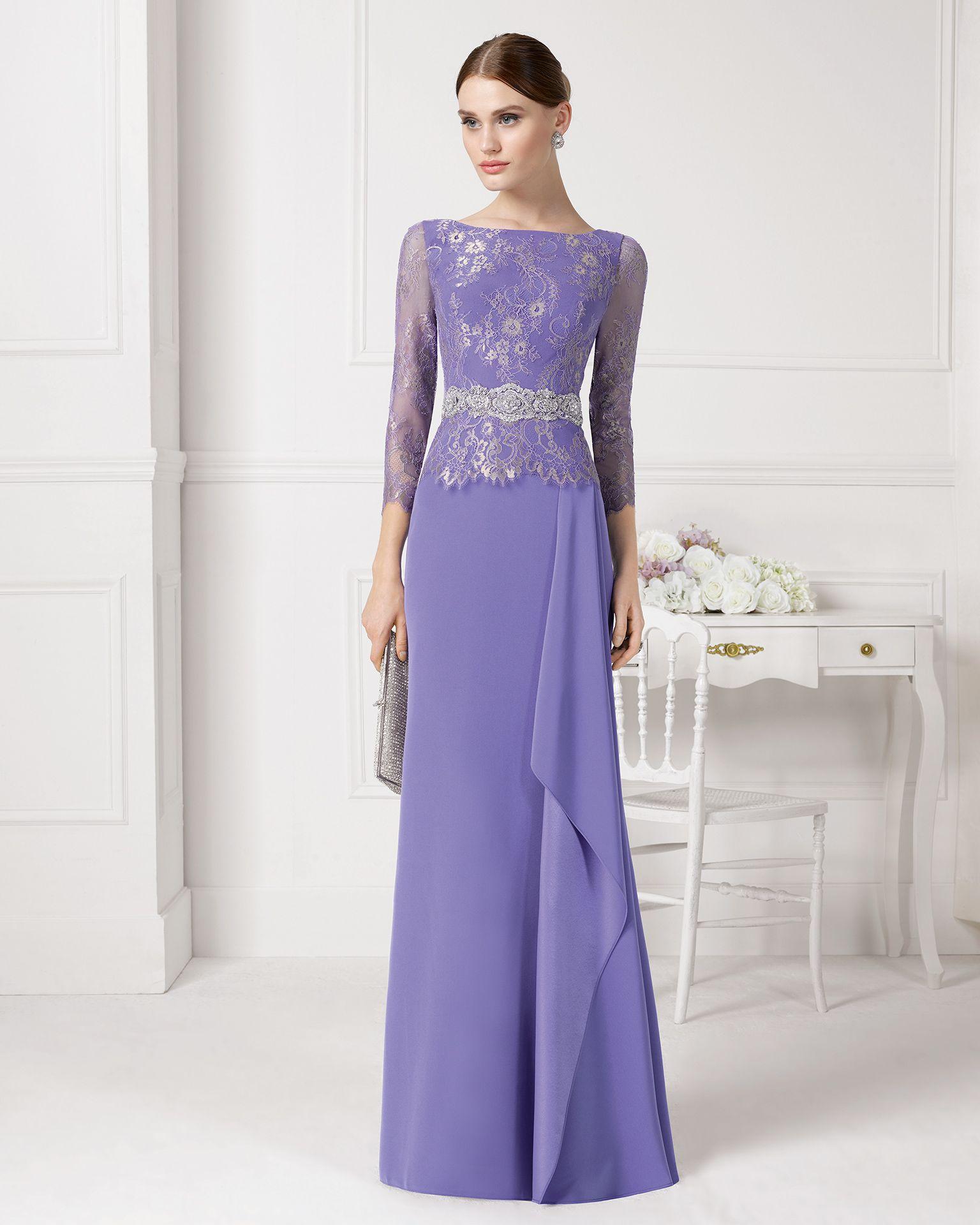 Vestido color lila de manga larga. Código: 9u158 | Vestidos de ...