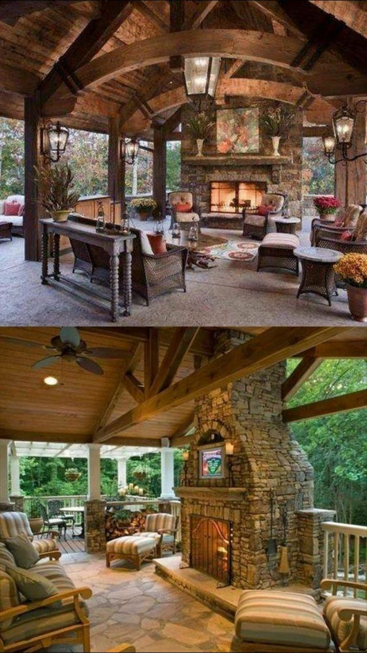 Super Cozy Outdoor Living Area With Fireplace And Tv