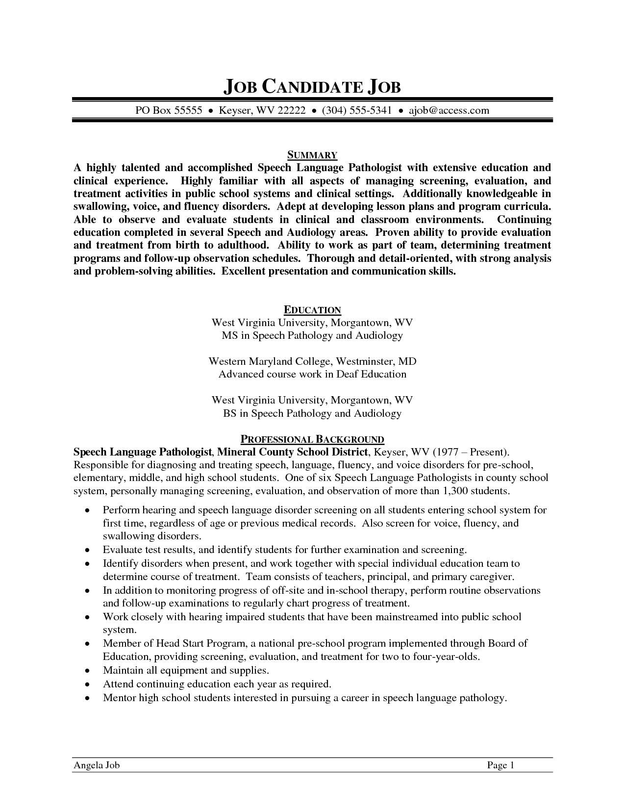 Cover letter for speech language pathologist assistant  My