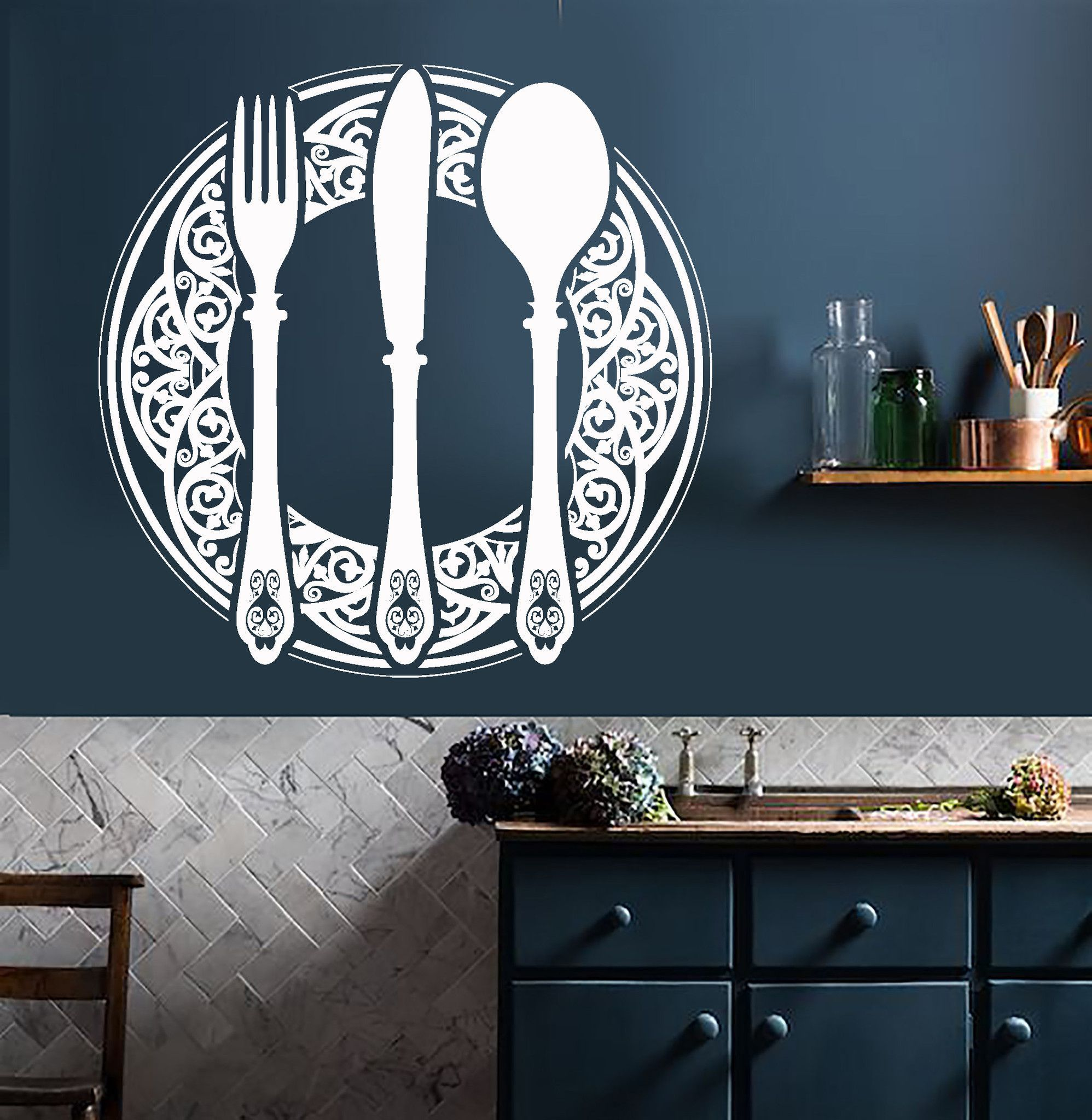 Vinyl Wall Decal Cutlery Dining Room Decoration Kitchen Restaurant Stickers Unique Gift 736ig Wall Vinyl Decor Dining Room Decor Restaurant Decor