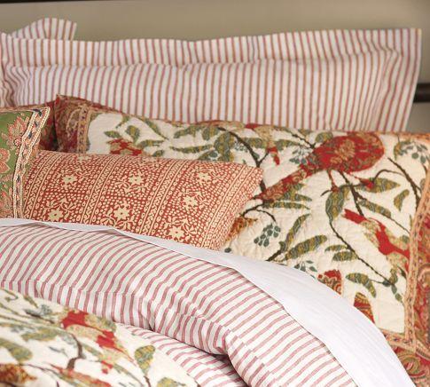Vintage Ticking Stripe Duvet Cover Sham Red Striped Duvet Covers Duvet Striped Duvet