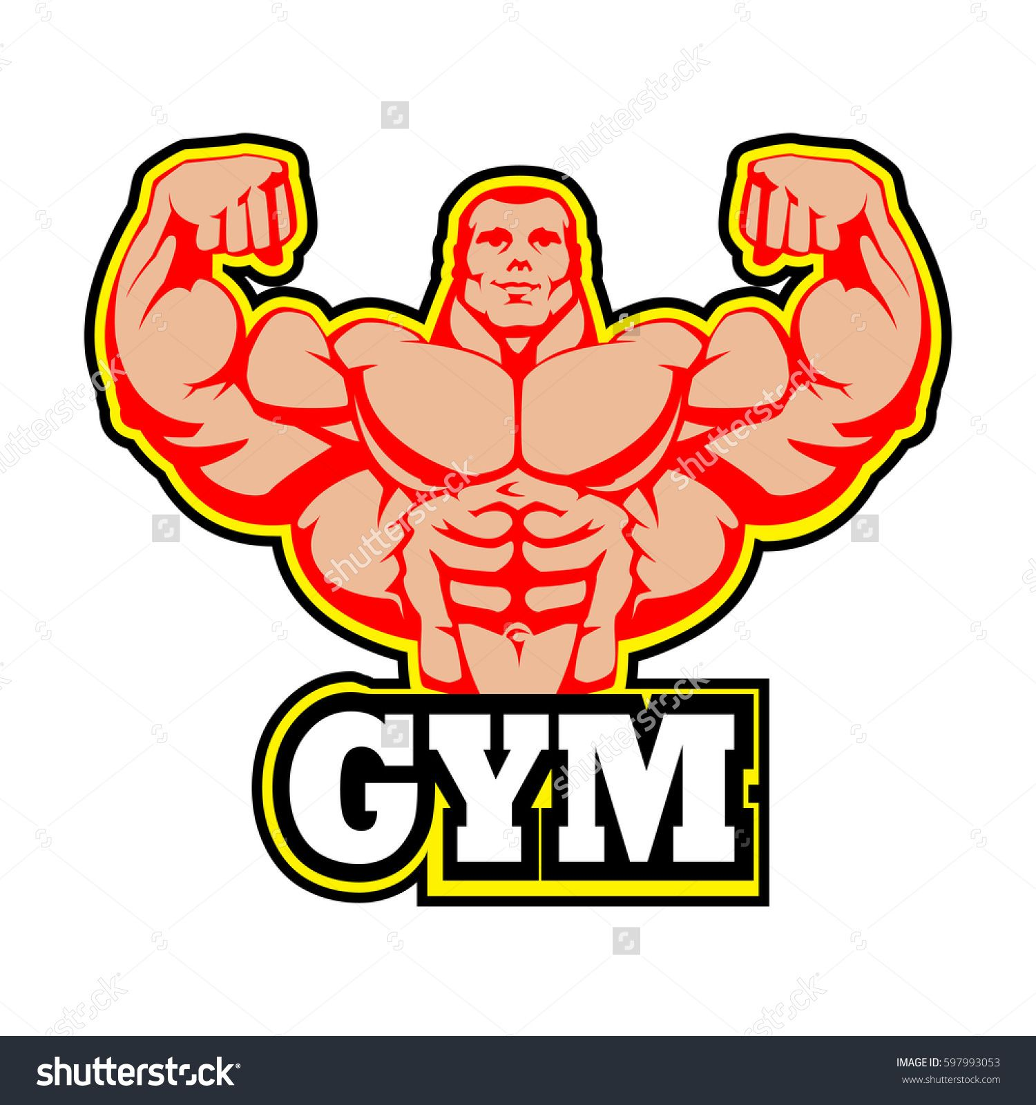 Gym Logo Vector Design. Muscle Man Bodybuilder. Huge Arms