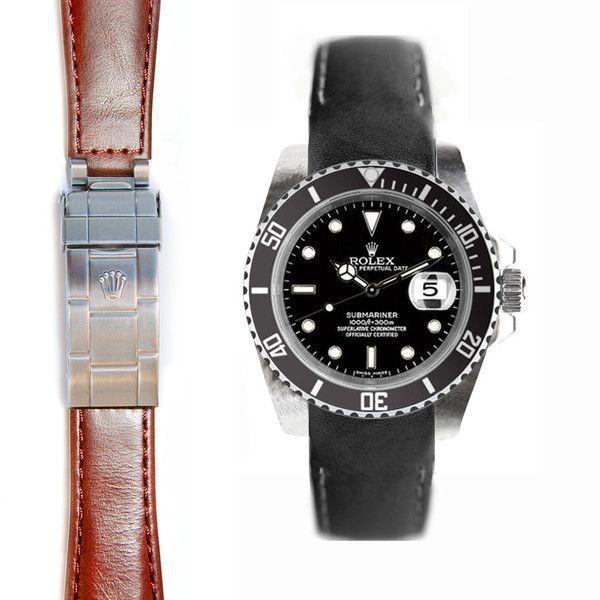 Everest Curved End Leather Strap for Rolex Submariner Deployment Buckl